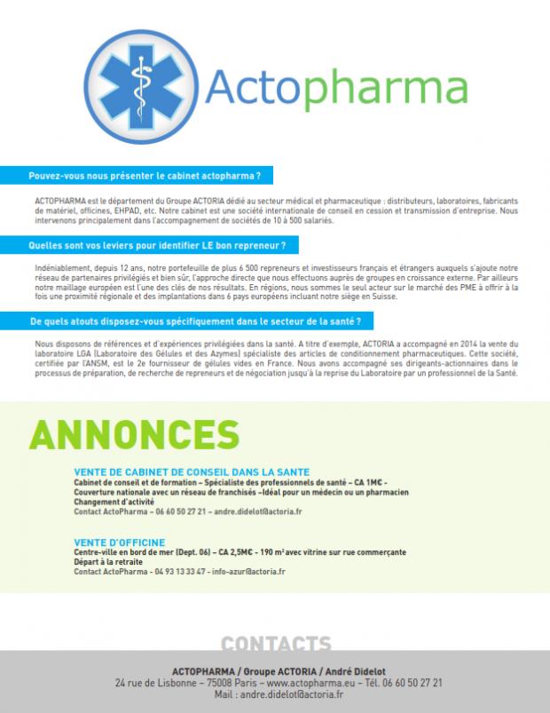 Le département Santé et Pharmacie de Actoria cité dans la revue Pharma