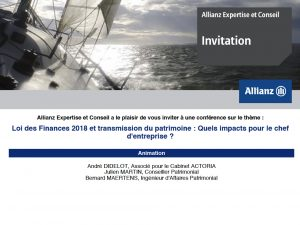 ALLIANZ et ACTORIA sur la transmission le 10 avril 2018 (Sophia-Antipolis)